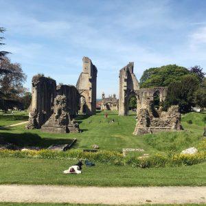 Die Glastonbury Abbey auf einer Kraftlinie